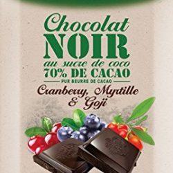 Ciocolata neagra cu zahar de cocos, goji, merisoare si afine, fara gluten,Bio